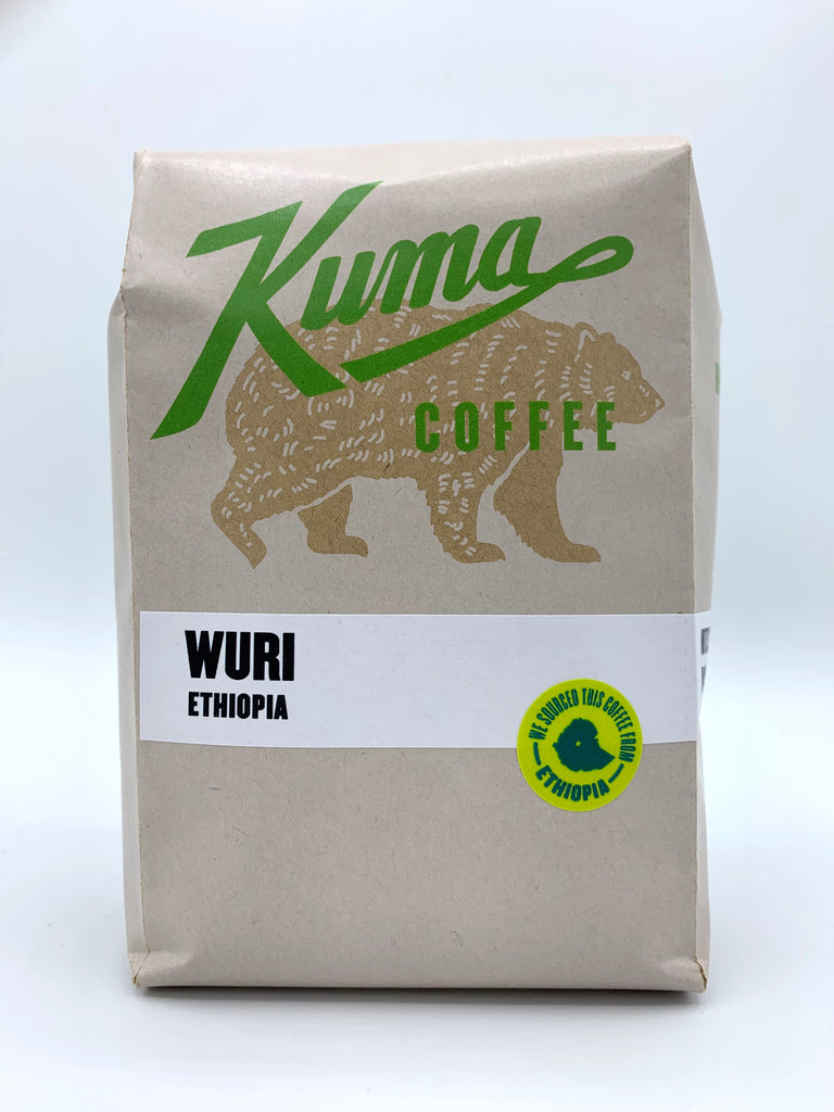 A retail bag of Ethiopian coffee named Wuri, roasted by kuma coffee