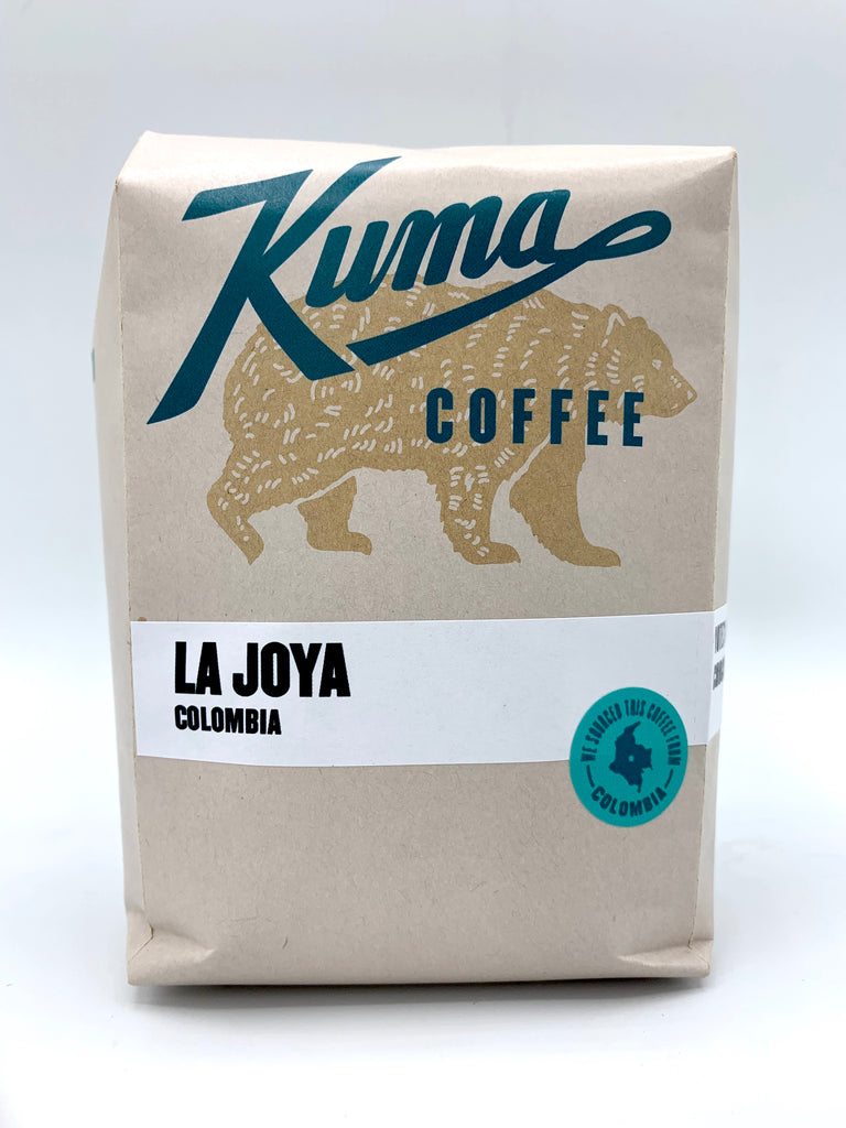 retail coffee bag of Colombia La Joya, roasted by Kuma Coffee
