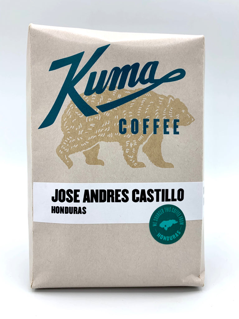 A retail bag of Honduran coffee named Jose Andres Castillo, roasted by Kuma Coffee