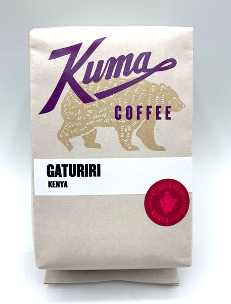 Kuma Coffee in purple text on 12oz retail bag containing Gaturiri, roasted coffee from Kenya