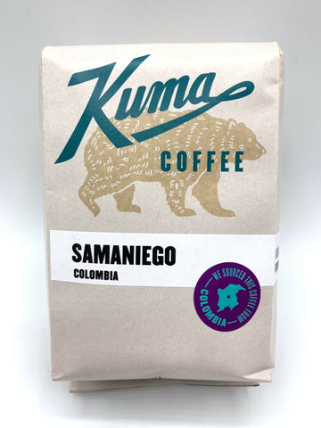 Kuma Coffee in blue text on 12oz retail bag containing Samaniego, washed coffee from Colombia
