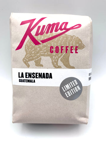 Kuma Coffee in pink text on 12oz retail bag containing La Ensenada, limited edition washed coffee from Guatemala