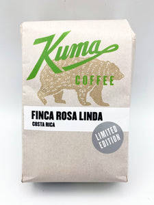 A kraft bag of coffee with a green logo and a Limited Edition sticker, with the text Finca Rosa Linda Costa Rica from Kuma Coffee