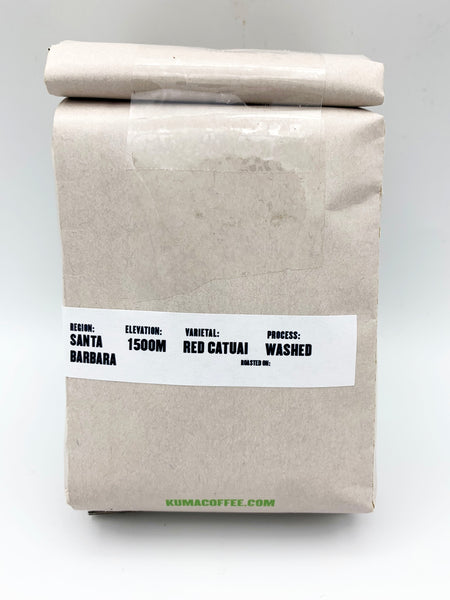 The back of a craft bag of coffee with notes on the region, Santa Barbara, Elevation 1500M, red catuai varietal, washed process.