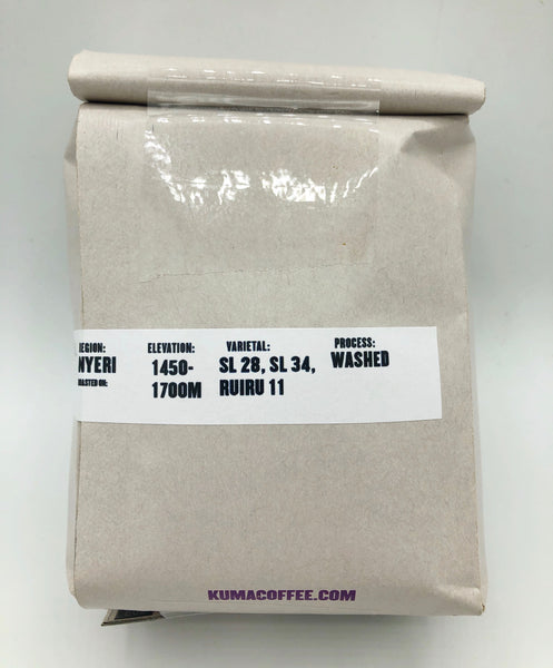 12 oz retail bag of Wachuri washed coffee from Nyeri, Kenya, grown at 1450-1700 meters, washed processed coffee with SL 28, SL 34 and Ruiru 11 varietals roasted by Kuma Coffee in Seattle, WA