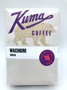 Kuma Coffee in purple text on 12oz retail bag containing Wachuri, fresh crop washed coffee from Kenya  Edit alt text