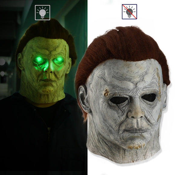 Michael Myers  LED Luminous Headgear Cosplay Props Halloween Party Horror Head Cover