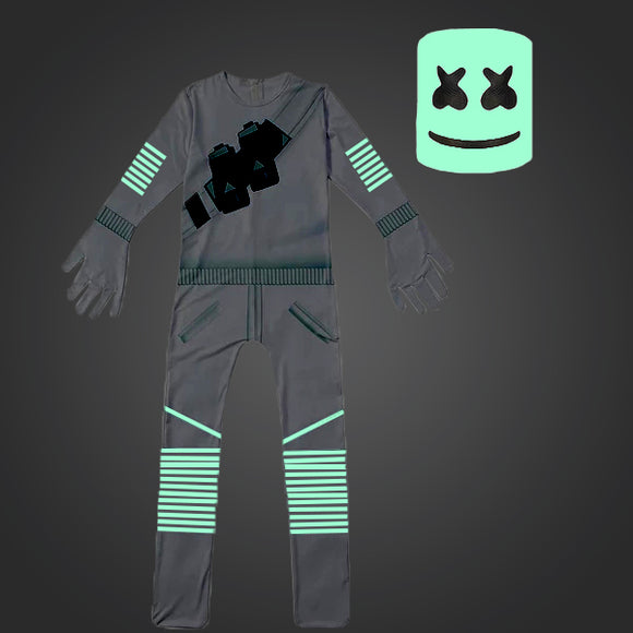2019 Fortnite Marshmello Costume Cosplay Jumpsuit Glow in the Dark Onesie Bodysuit for Kids