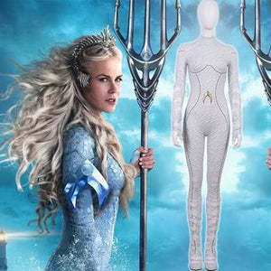 Aquaman Atlanna Cosplay Costume White Body Suit Halloween Cosplay Adult