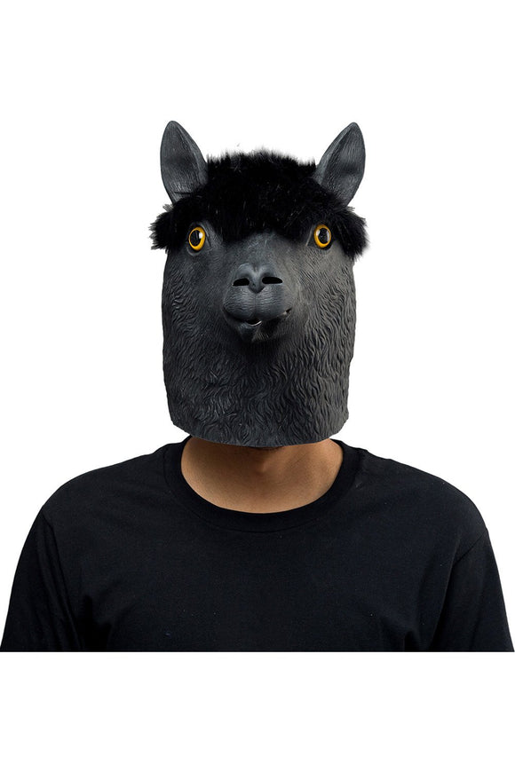 Black Alpaca Mask Halloween Animal Latex Masks Full Face Mask Adult Cosplay