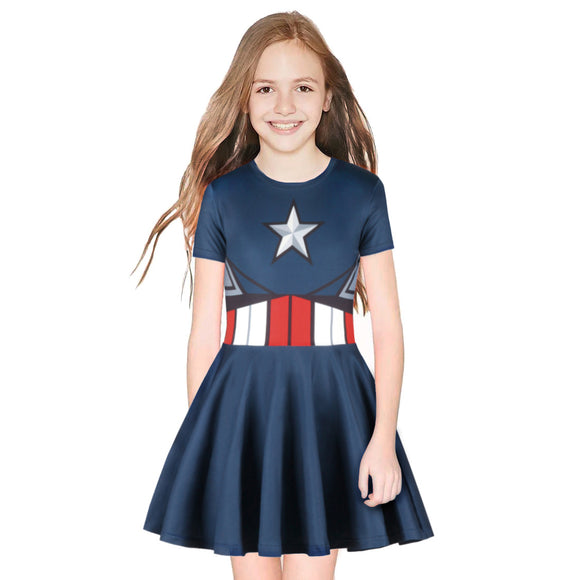 Captain America Girls Dress Short Sleeve Toddler Sundress Summer