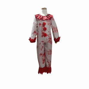 Kids Clown Red Jumpsuit Cosplay Costume for Halloween Party