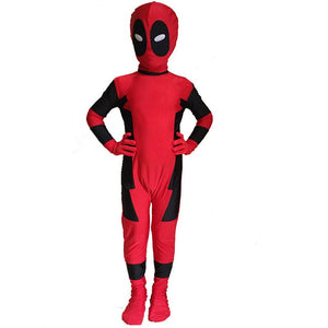 Costume Deadpool Cosplay Full Body Onesie for Kids Red Jumpsuit