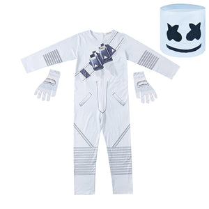 Fortnite DJ Marshmello Cosplay Costume Jumpsuit Onesie with Gloves and Headgear for Kids