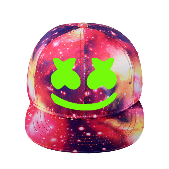 Fortntie Marshmello Logo Galaxy Baseball Cap Hip Hop Hat Snapback Caps Glowing in the Dark Youth