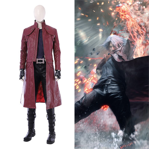 Devil May Cry 5 Dante Cosplay Costume Red Coat Men Women Cosplay Whole Set