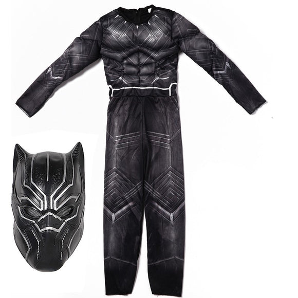 Endgame Black Panther Kids Costume Cosplay Black Jumpsuit with Mask Halloween Cosplay