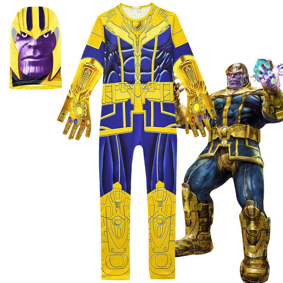 Endgame Thanos Cosplay Costume Yellow Jumpsuit Body Suit for Kids