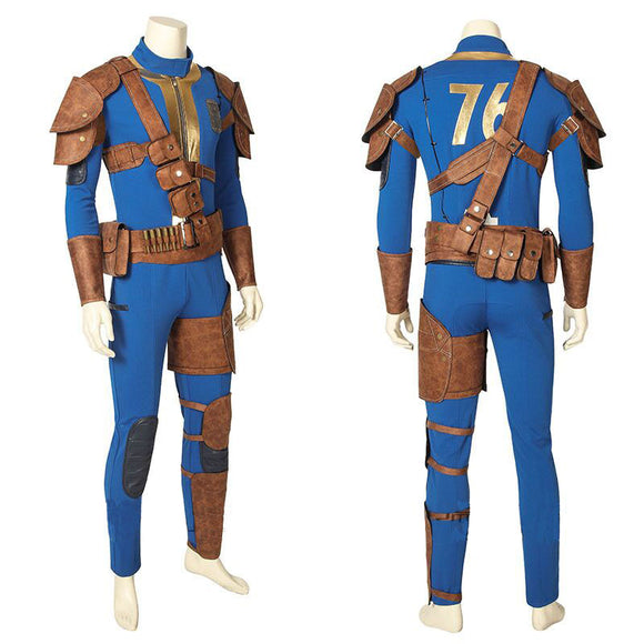 Fallout 76 Vault 76 Halloween Game Cosplay Blue Outfit Jumpsuit for Men