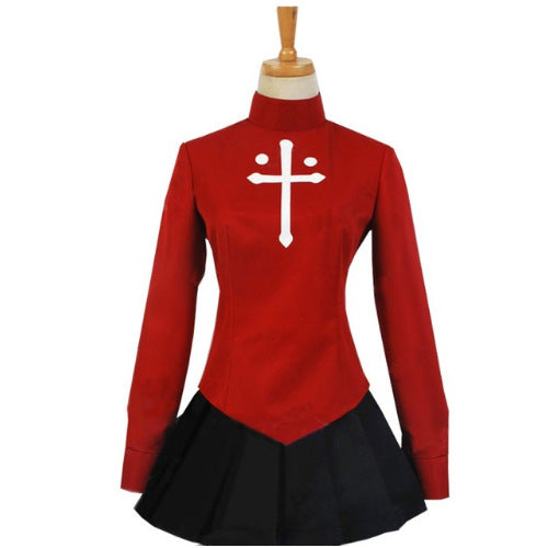 Fate Stay Night Tohsaka Rin Cosplay Costume Red Costume Full Set for Girls