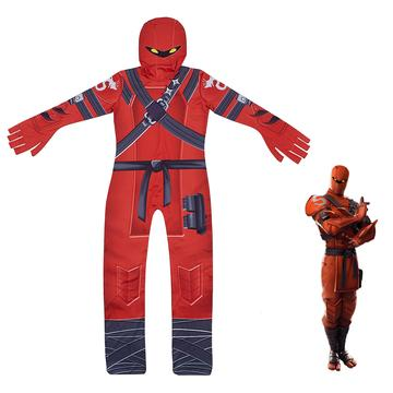 Fortnite Battle Pass Season 8 Hybrid Cosplay Costume Red Ice Silk Jumpsuit for Kids