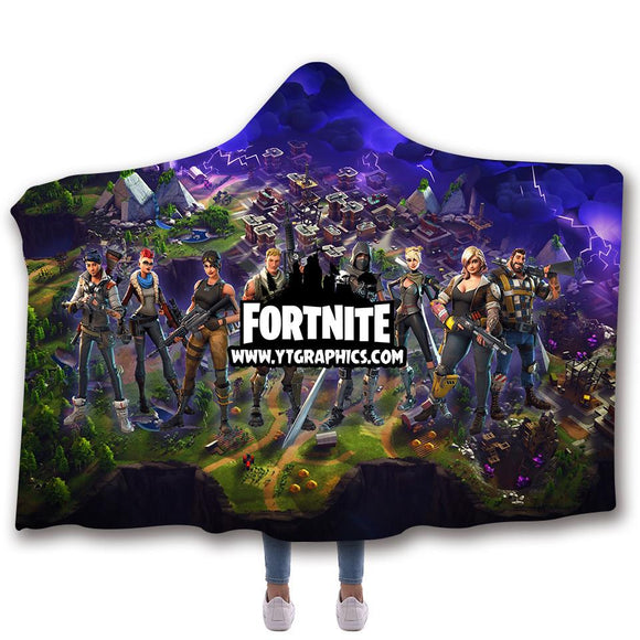 Fort-nite Logo Hooded Blanket Blanket for Boys and Girls