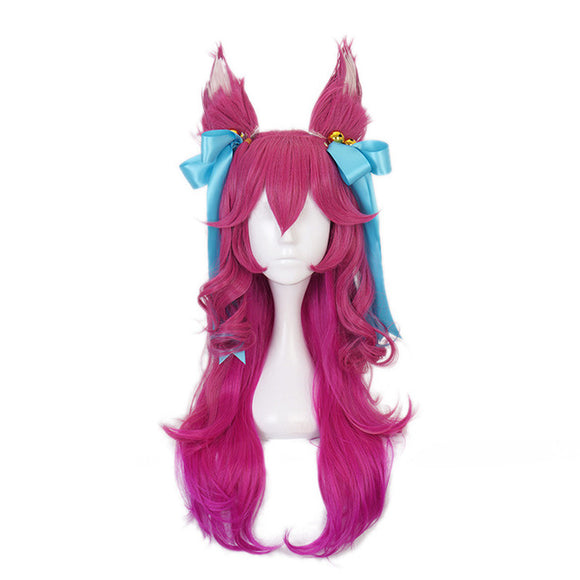 Game Spirit Blossom Ahri Women Long Wig With Ears Headwear