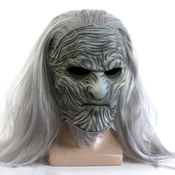 Game of Thrones 8 The White Walkers Mask Cosplay Mask with Long Hair Halloween Cosplay