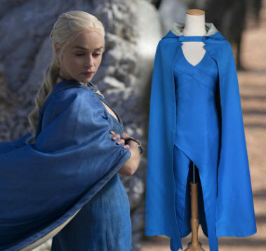 Game of Thrones A Song of Ice and Fire Daenerys Targaryen Blue Dress Cosplay Costume Halloween Cosplay