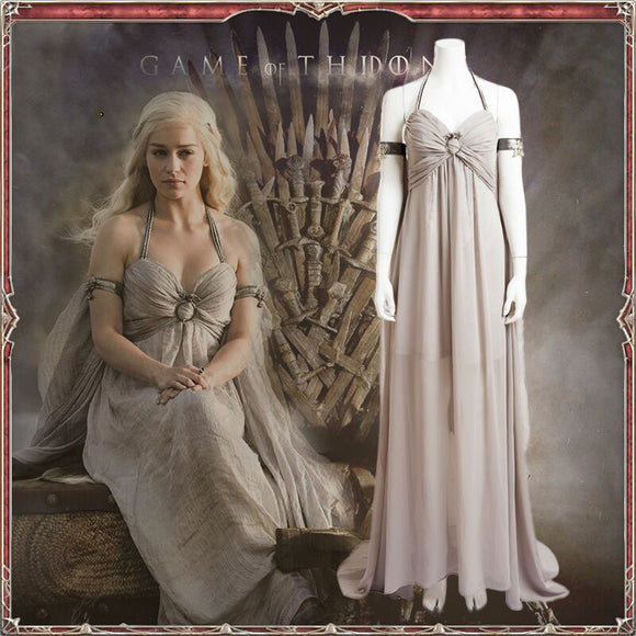 Game of Thrones Daenerys Targaryen Mother of Dragons Gray Dress Cosplay Costume Halloween Cosplay