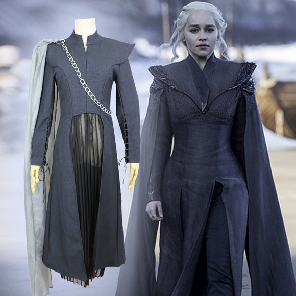 Game of Thrones Season 7 Gray Costume Daenerys Targaryen Cosplay Halloween Cosplay
