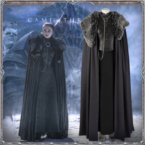 Game of Thrones Season 8 Sansa Stark Cosplay Costume for Women Halloween Cosplay