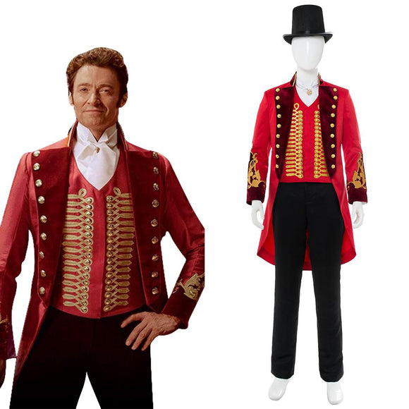 Greatest PT Barnum Cosplay Costume Performance Uniform Red Suit