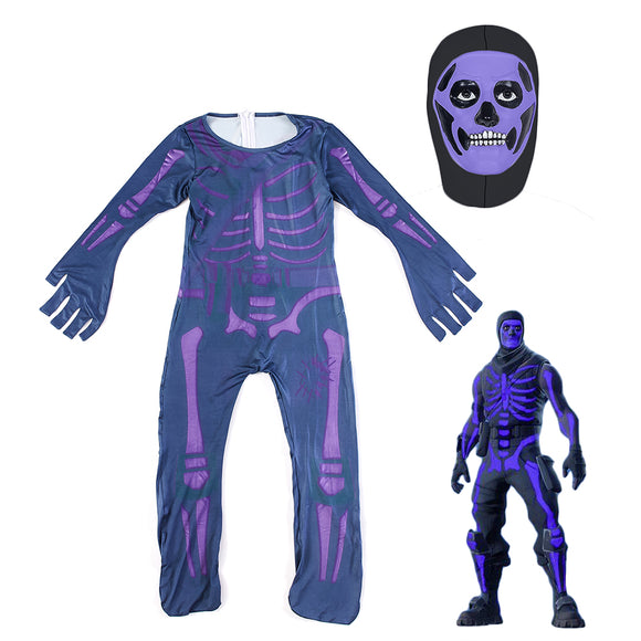 Halloween Fortnite Purple Skull Trooper Costume with Mask Kids Onesie Bodysuit Cosplay Jumpsuit