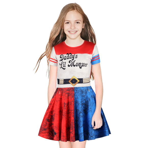 Harley Quinn Girls Dress Short Sleeve Toddler Sundress Summer Cosplay Costume