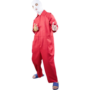 Horror Movie Us Cosplay Costume Halloween Head Cover Red Clown Suit for Adult