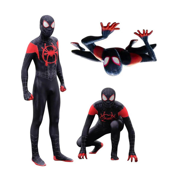 Into the Spider-Verse Costume Miles Morales Kids Costume Detachable Mask Halloween Cosplay for Kids