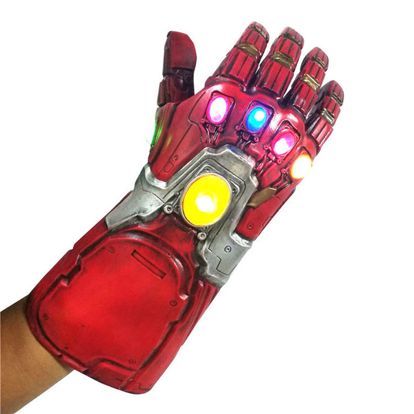 Iron Man Red Gauntlet LED Gem Endgame Cosplay Gauntlet Latex