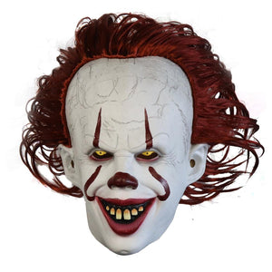 It: Chapter Two Pennywise Mask with Wig Pennywise Cosplay Mask Latex Halloween Cosplay Mask
