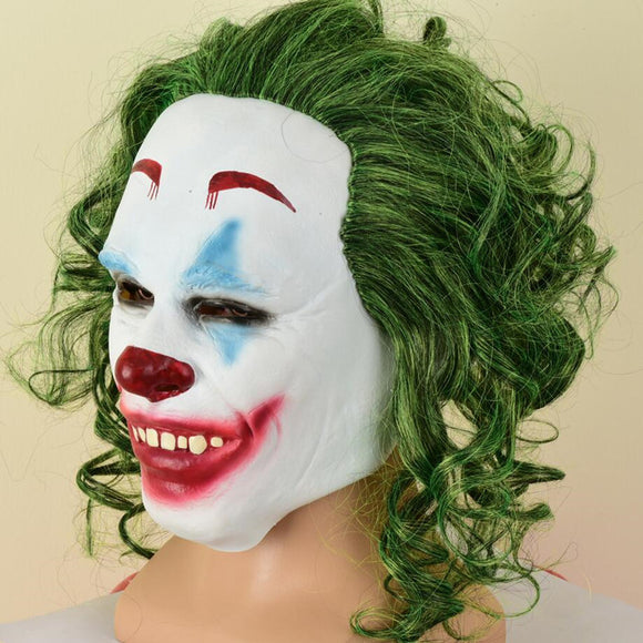 Joker 2019 Mask With Green Wig Cosplay Mask Halloween Cosplay Mask Latex