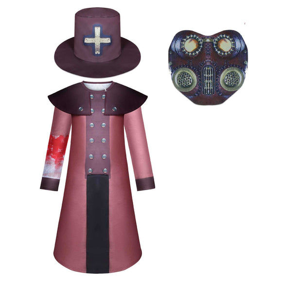 Kids Plague Doctor One Piece Costume Halloween Jumpsuit Cos Supplies