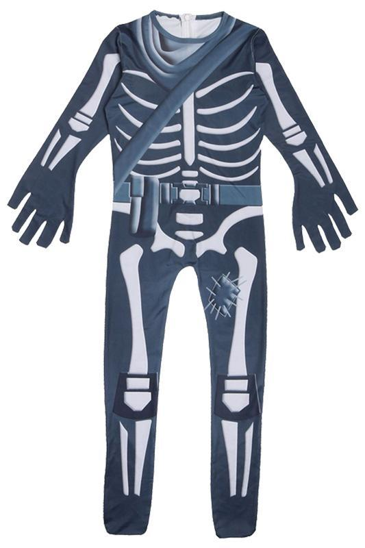 Kids Battle Royale Fortnite Skull Trooper Costume Jumpsuit Halloween Cosplay For Kids