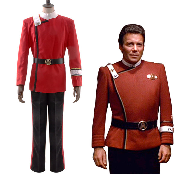 Kirk Khan Cosplay Costume Red Uniform Whole Set for Men Halloween Cosplay