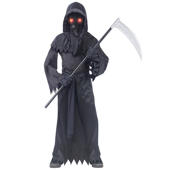 LED Eyes Grim Reaper Costume Halloween Jumpsuit Cos Props for Kids