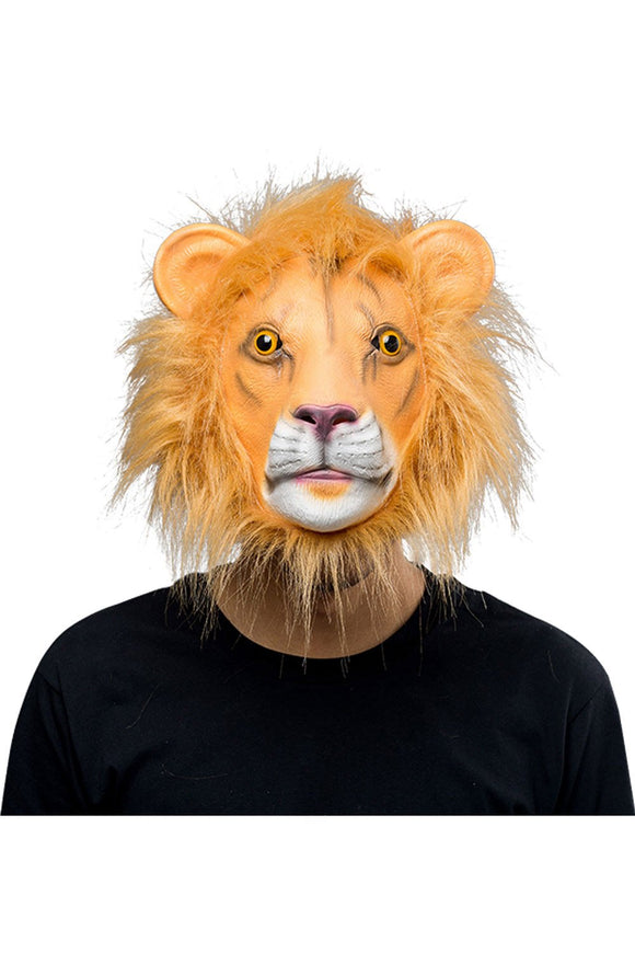 Lion Full Face Mask Halloween Animal Latex Masks Adult Cosplay