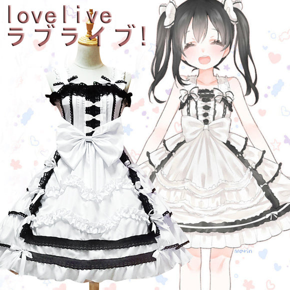 Lovelive Cosplay Costume Black and White Dress Cosplay Halloween Girls Cosplay