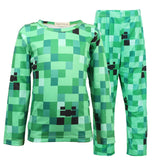 Minecraft Creeper Costume Pajamas Boys Girls 2 Piece Pajama Set Sleepwear for Kids