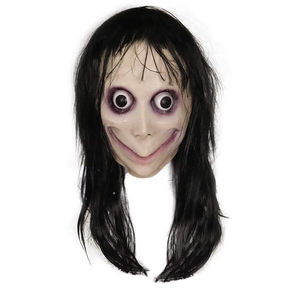 Momo Challenge Hoax Creepy Momo Mask Cosplay Mask with Long Hair Halloween Costume Accessories