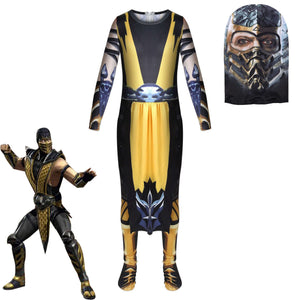 Mortal Kombat Legends: Scorpions Revenge Costume Halloween Jumpsuit Kids Cos Supplies