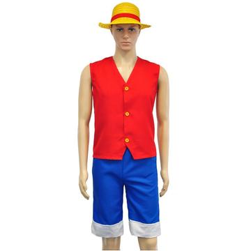 One Piece Luffy Cosplay Costume Red Top Gilet Blue Shorts and Hat Cosplay